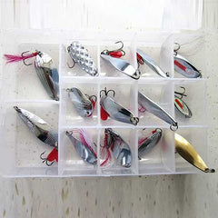 14Pc Fishing Lure Spoon Treble Feather Hook Spinner Bait with Box