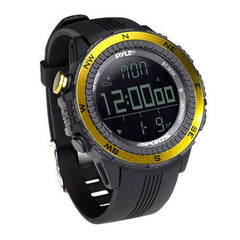 Digital Multifunction Active Sports Watch with Altimeter, Barometer, Chronograph, Compass, Count-Down Timer, Measuring & Weather Forecast Modes (Yellow)