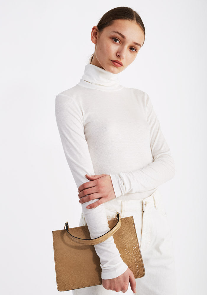 Thin Rib Polo in Off-White