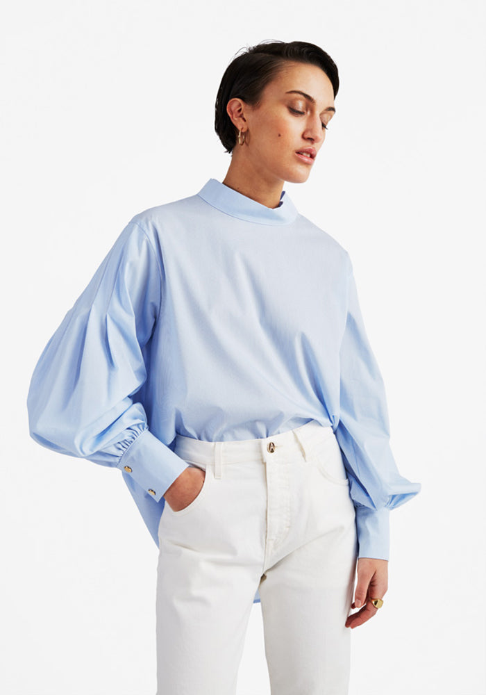 Pleated Puff Blouse in Light Blue