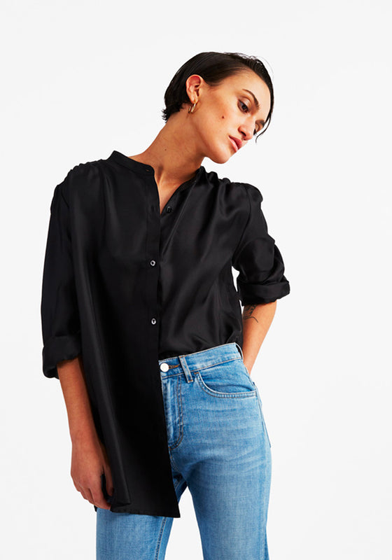 Silk Puff Blouse in Black