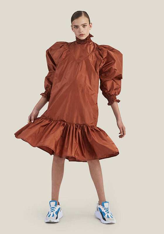 Smock Ruffle Dress, Rust
