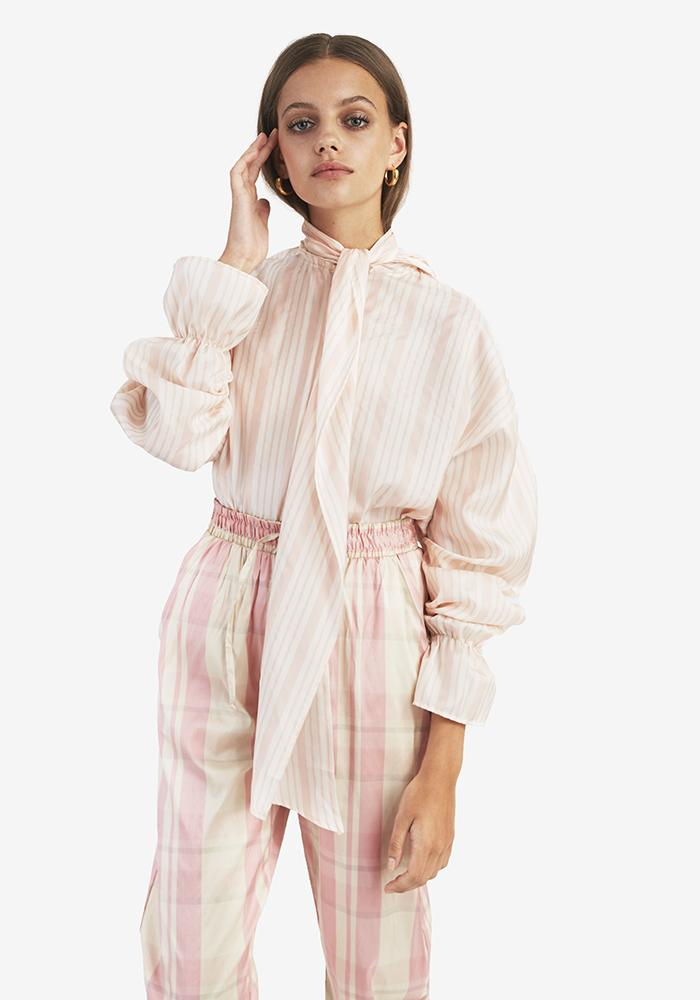 Silk Bow Blouse, Pink - AVAVAV-Silk Bow Blouse, Pink