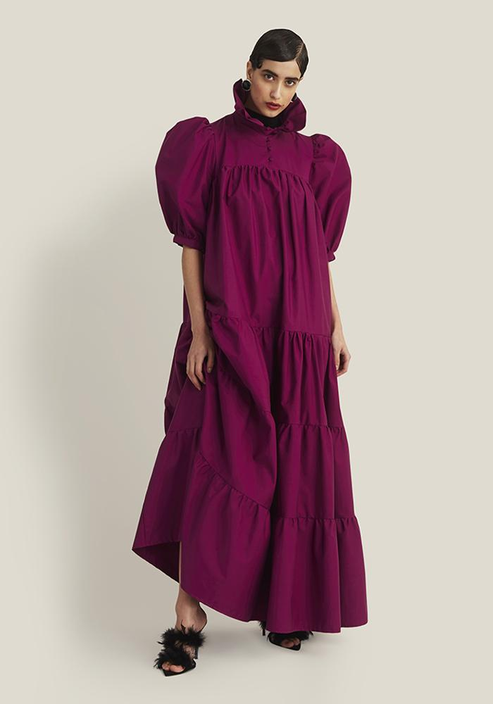 Long Ruffle Dress Short Sleeve, Dark Fuchsia (4337040916564)