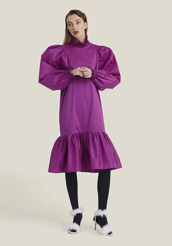 Smock Ruffle Dress, Fuchsia
