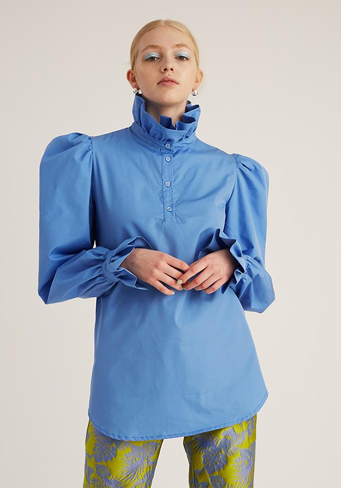 Ruffle Shirt, Blue (4489552265300)