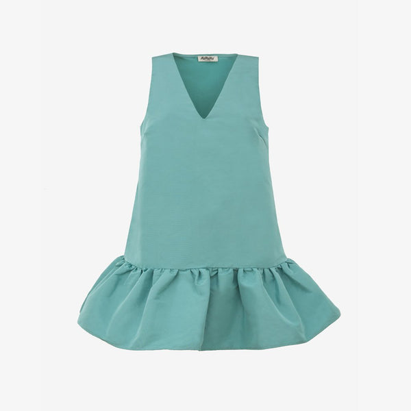 V-Neck Ruffle Dress, Dusty Green - AVAVAV-V-Neck Ruffle Dress, Dusty Green