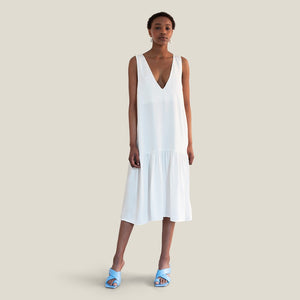 Long V-Neck Fluid Dress, White