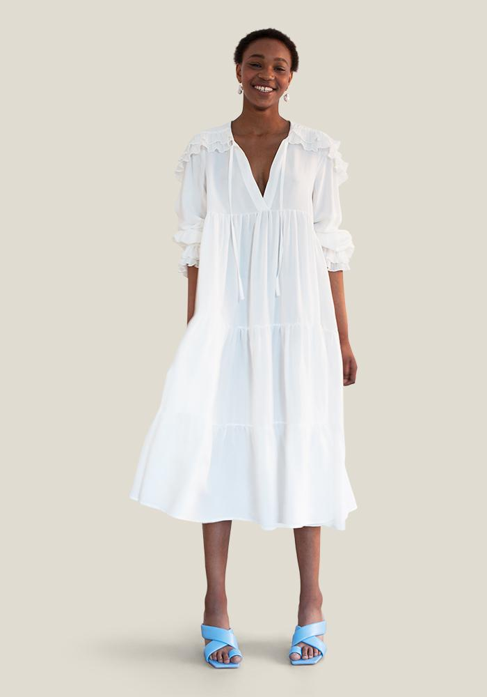 Plissé Collar Dress, White