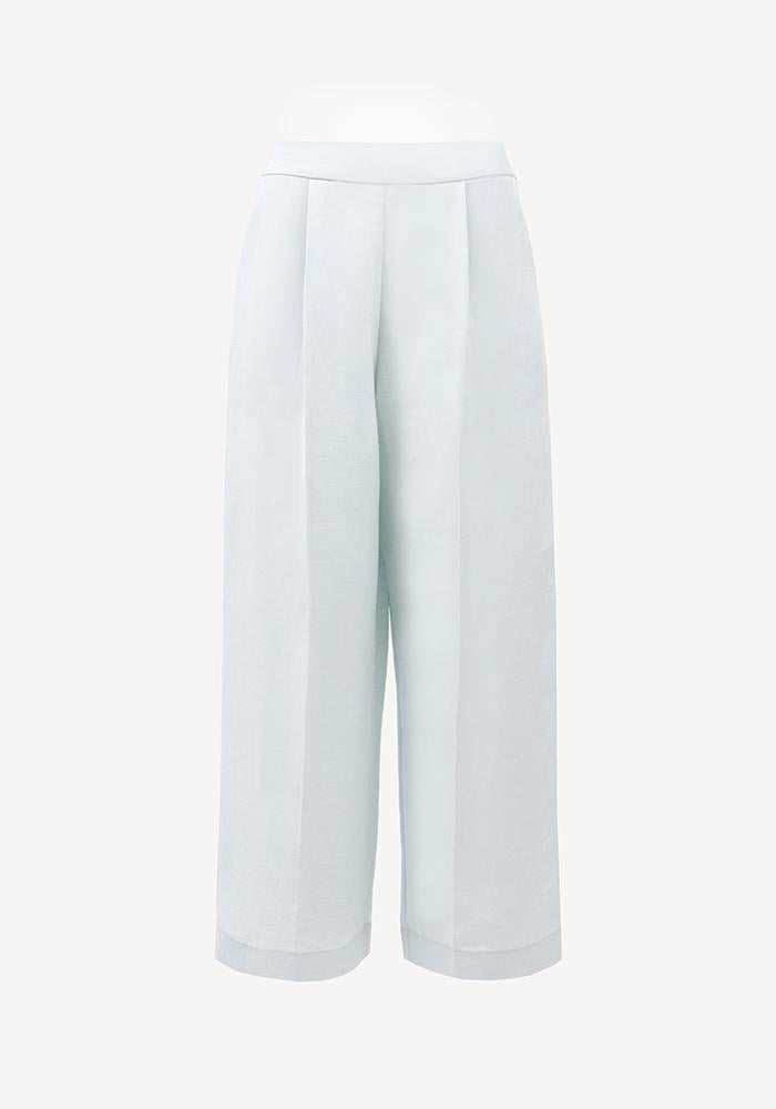 Linen Cropped Pants in Light blue - AVAVAV-Linen Cropped Pants in Light blue