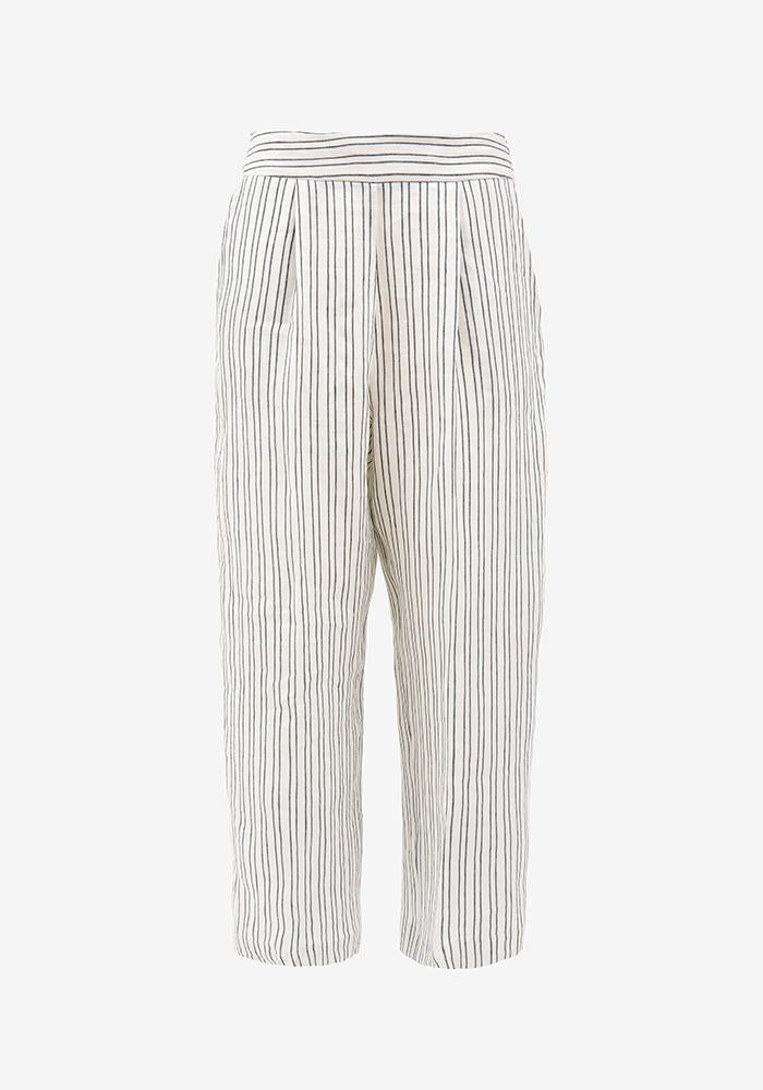 Linen cropped pants Stripe - AVAVAV-Linen cropped pants Stripe