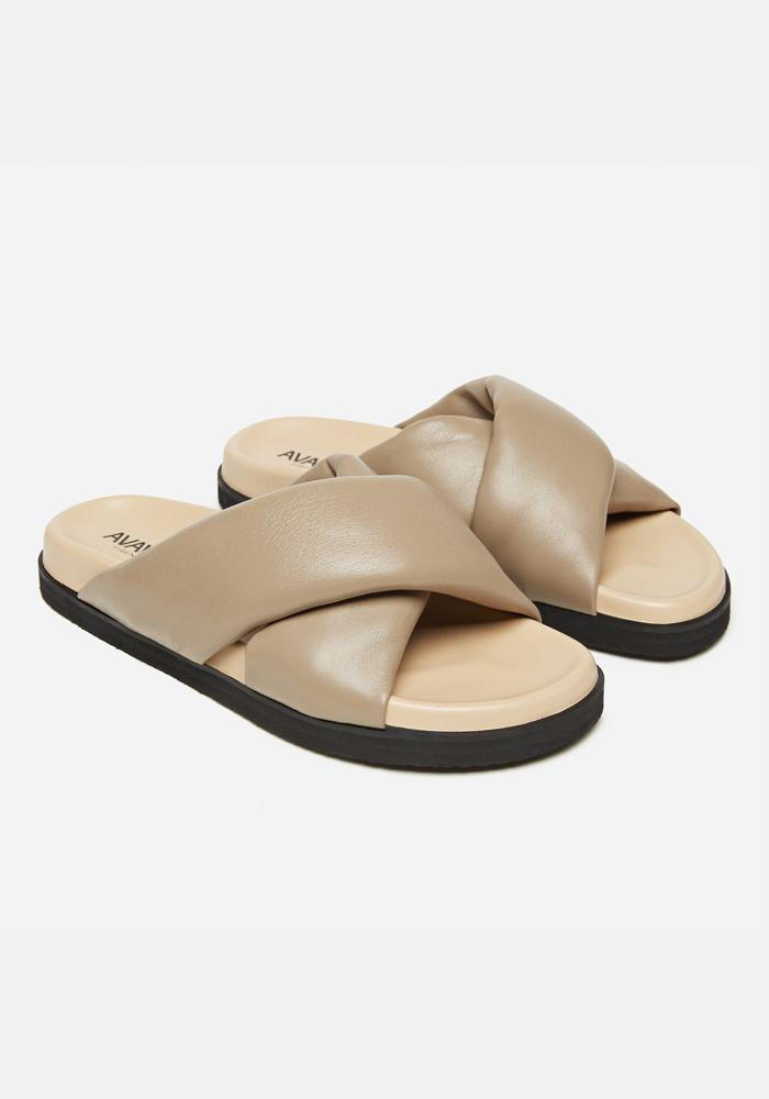 Padded Leather Sandals in Taupe - AVAVAV-Firenze