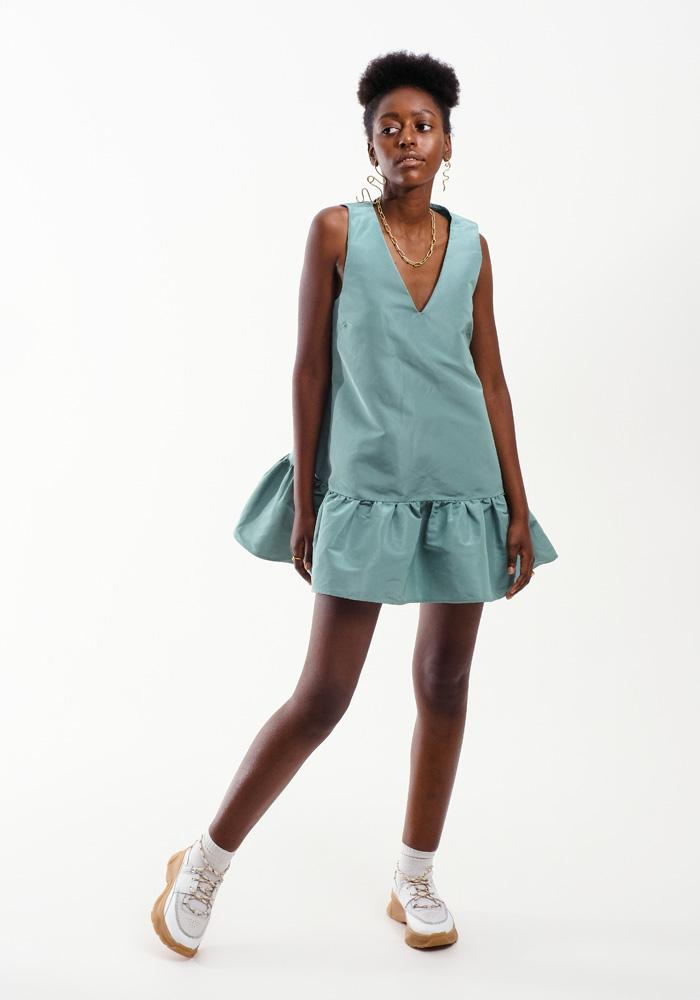 V-Neck Ruffle Dress, Dusty Green