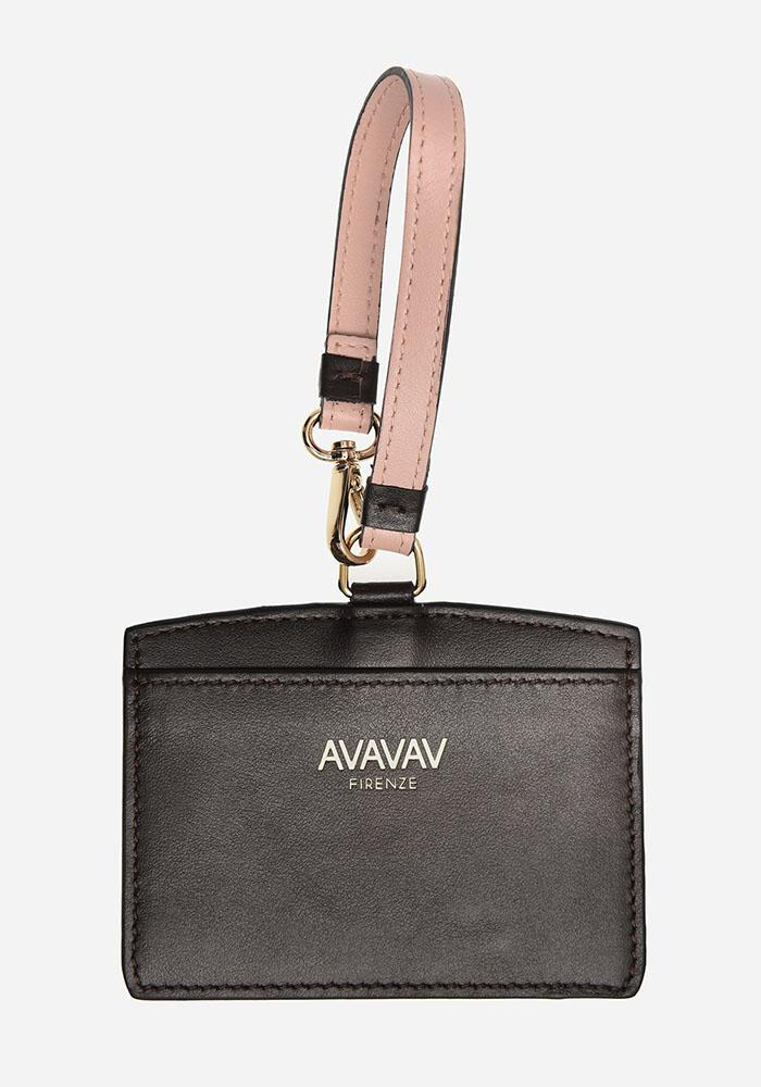 Luggage Tag/ Card Holder in Warm Black - AVAVAV-Firenze