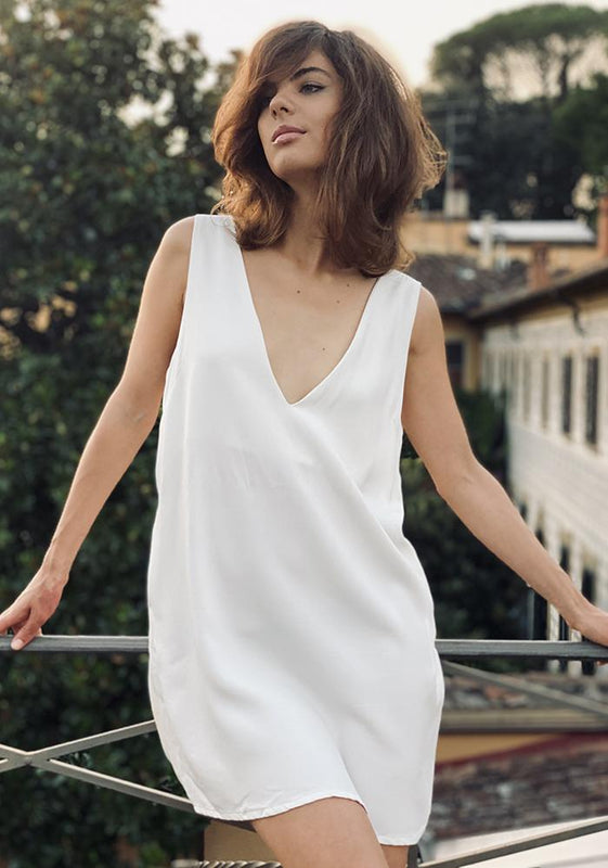 V-Neck Dress, White