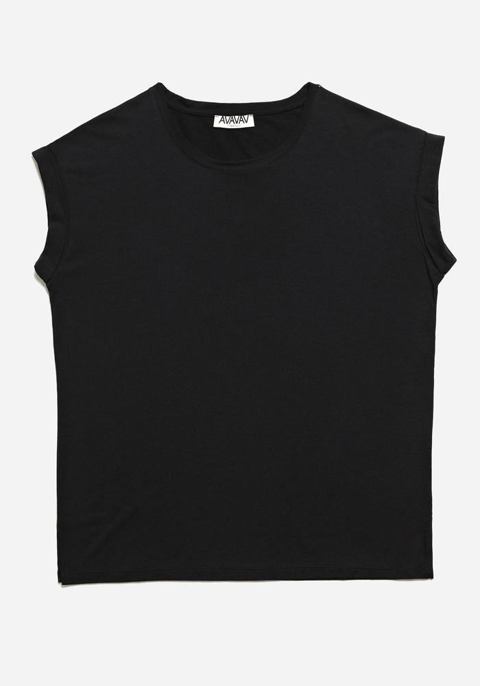 Round Neck Tee in Black - AVAVAV-Firenze (1688567775301)