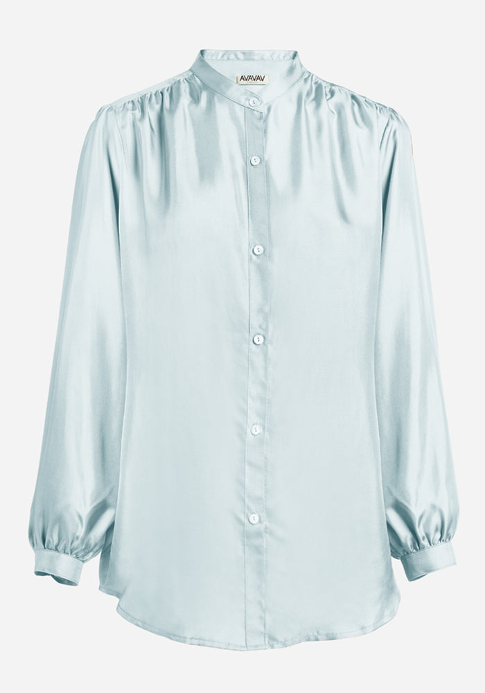 Silk Puff Blouse in Light Blue