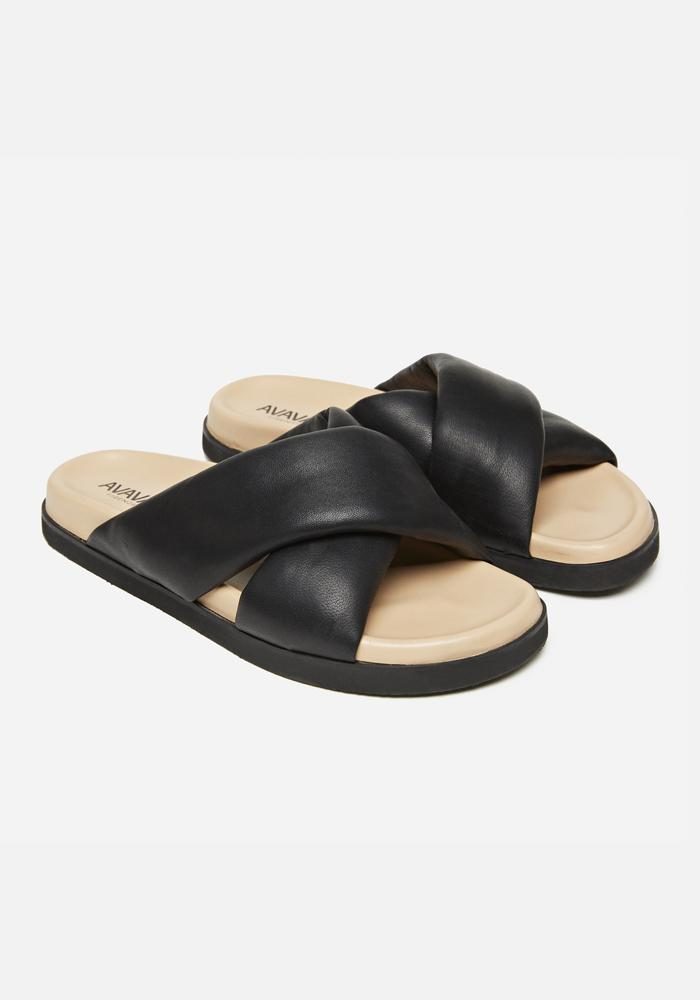 Padded Leather Sandals in Black - AVAVAV-Firenze