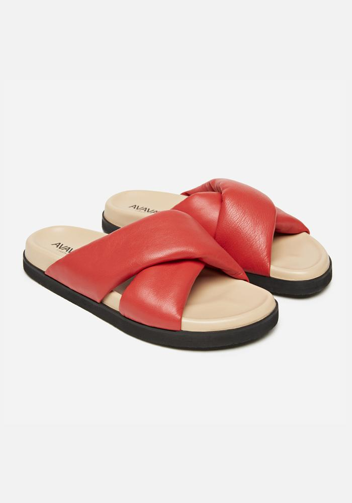 Padded Leather Sandals in Bright Red - AVAVAV-Firenze