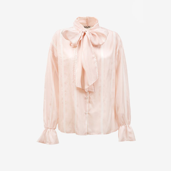 Silk Bow Blouse, Wide Stripes (3938185510981)