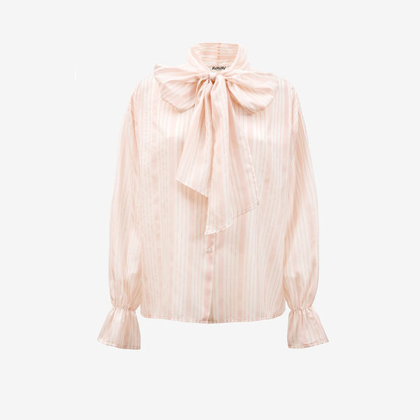 Silk Bow Blouse, Pink (3931847163973)