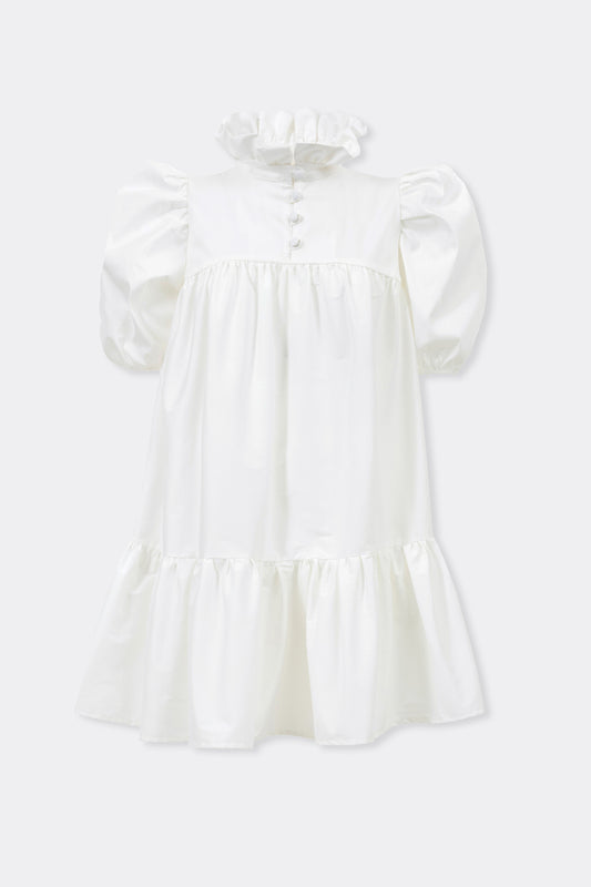 Mini Ruffle Dress Short Sleeve, White