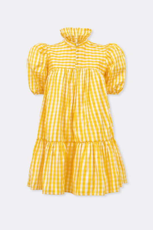 Mini Ruffle Dress Short Sleeve, Yellow Check