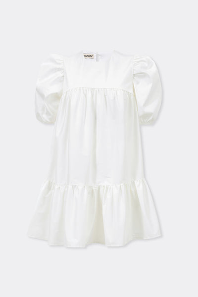 Mini Ruffle Dress Round Neck, White