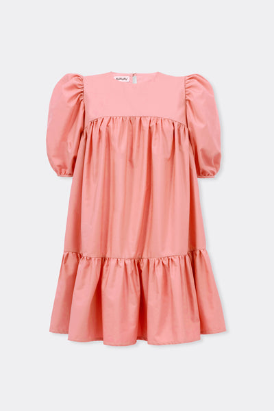 Mini Ruffle Dress Round Neck, Warm Pink