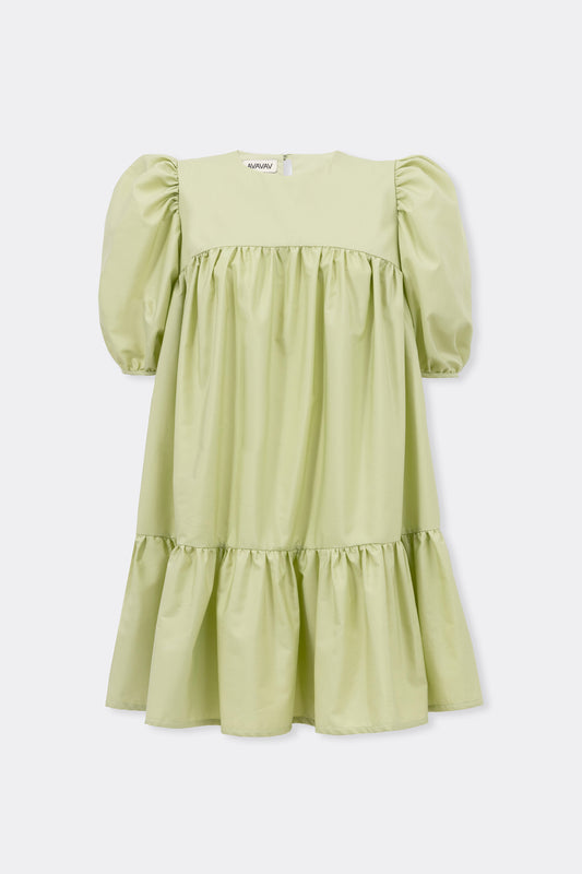 Mini Ruffle Dress Round Neck, Light Green