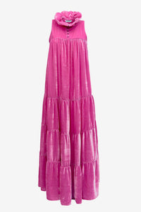 Long Ruffle Dress Velvet, Pink