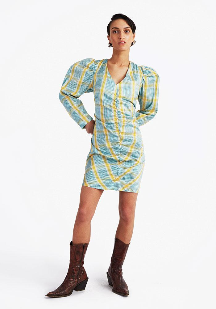 Silk 80s Dress, Yellow/blue check