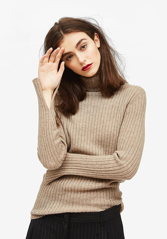 Cashmere Turtleneck in Taupe - AVAVAV-Firenze