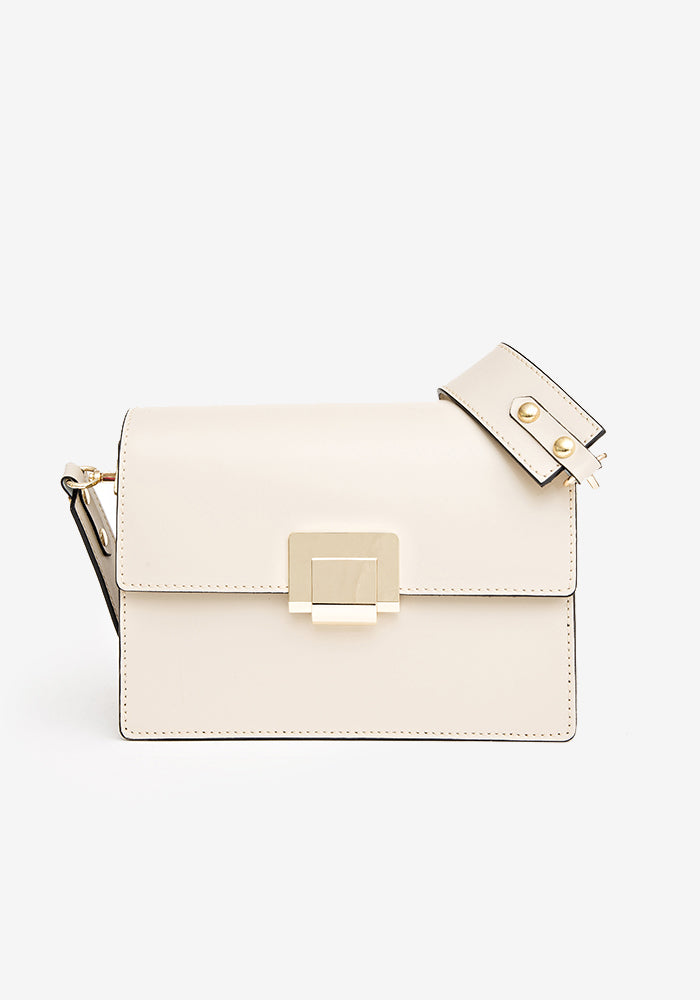 Leather Shoulder Bag Beige