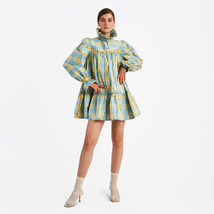 Mini Ruffle Dress, Yellow/Blue Check