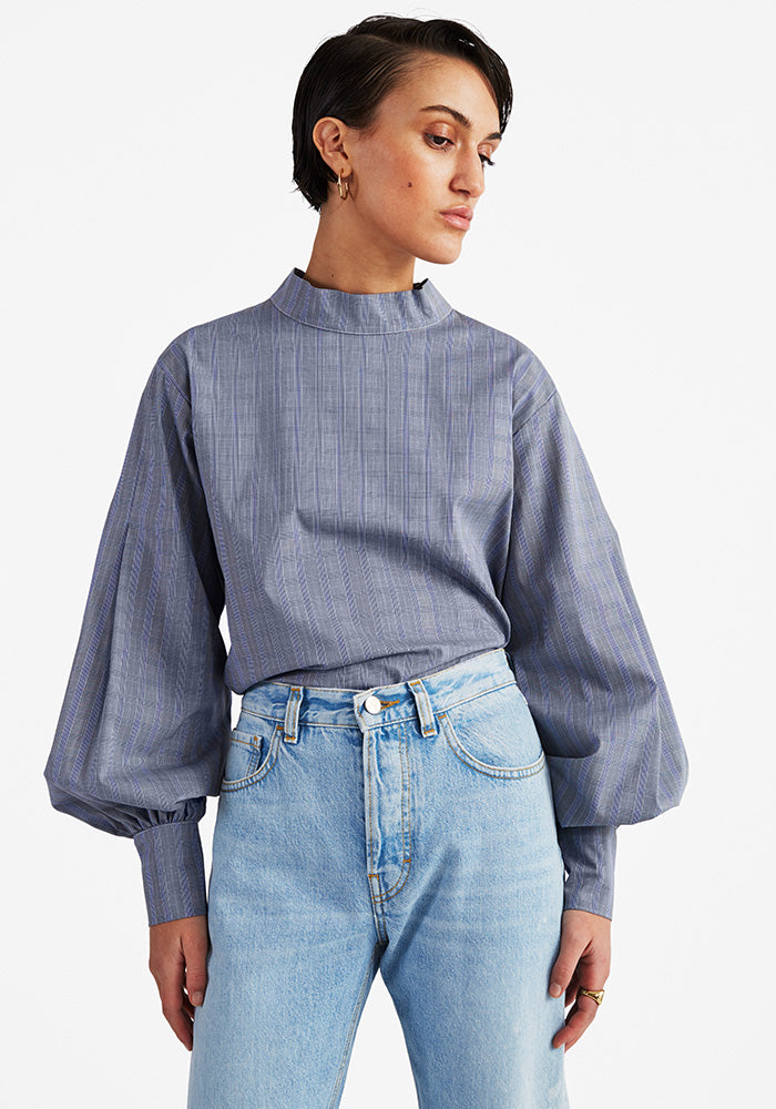 Pleated Puff Blouse, Checked