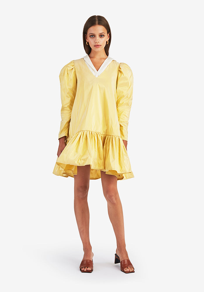 Puff V-neck Dress, Yellow