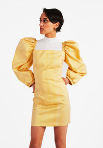Silk Puffy Dress, Yellow