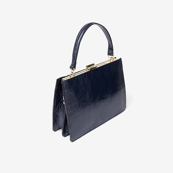 Sharp Leather Bag, navy