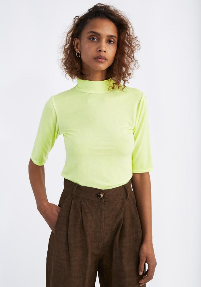 Short Sleeve Turtleneck Neon Yellow - AVAVAV-Firenze