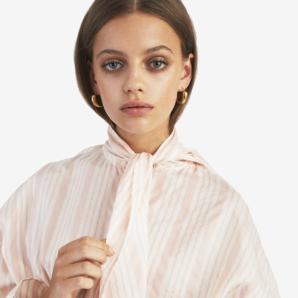 Silk Bow Blouse, Pink - AVAVAV-Silk Bow Blouse, Pink (3931847163973)