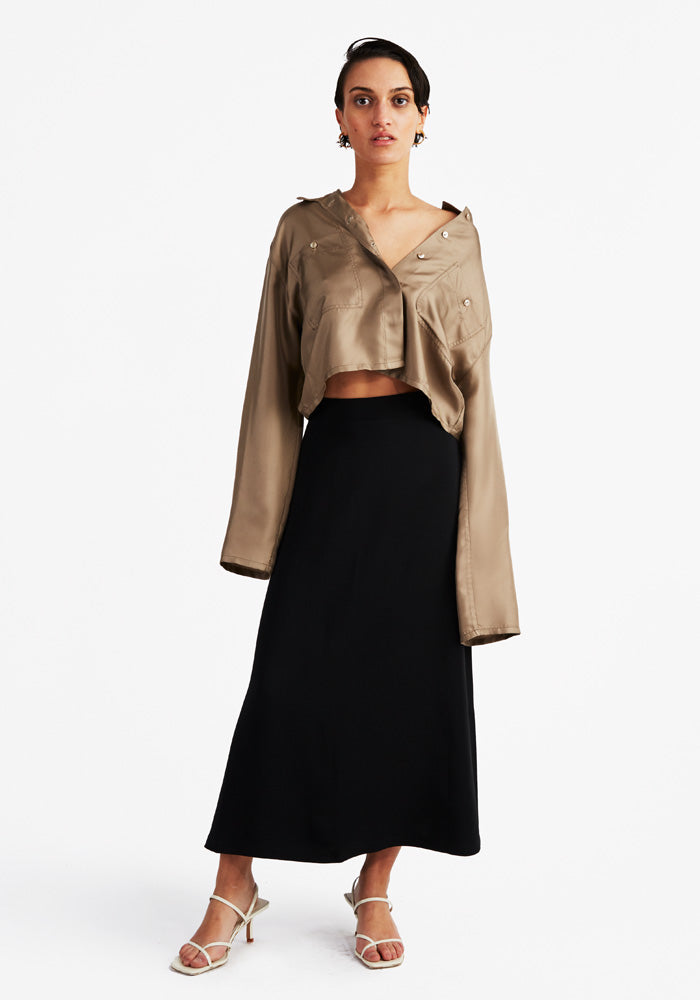 Silk cropped shirt Taupe
