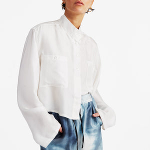 Silk cropped shirt Off-white (1688675418181)
