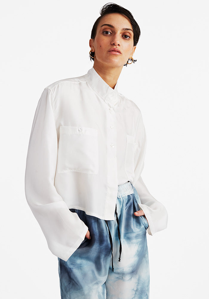 Silk cropped shirt Off-white