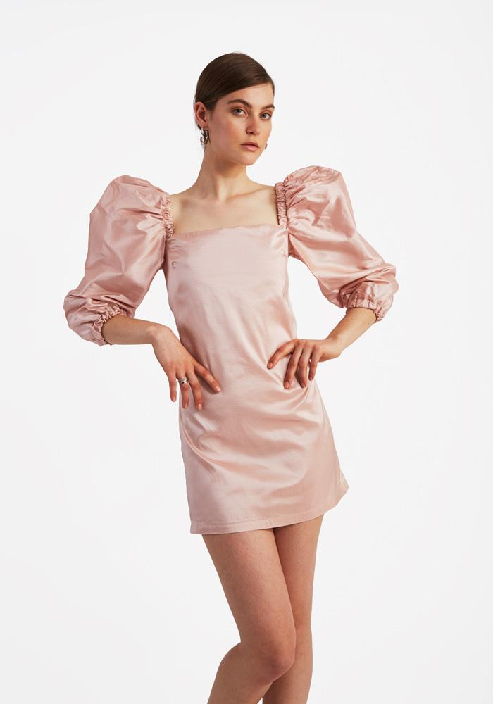 Silk Puffy Dress, Pale Pink