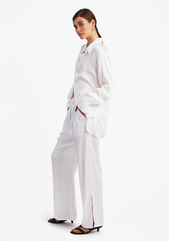 Slit Pants, White