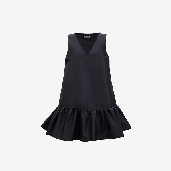 V-Neck Ruffle Dress, Black - AVAVAV-V-Neck Ruffle Dress, Black (3924684111941)
