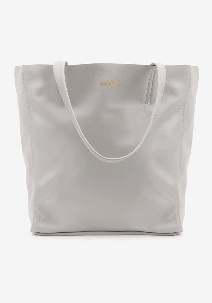 Large Tote Leather Bag in Grey - AVAVAV-Firenze