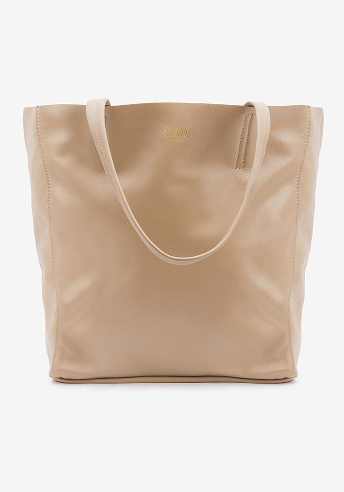 Large Tote Leather Bag in Taupe - AVAVAV-Firenze