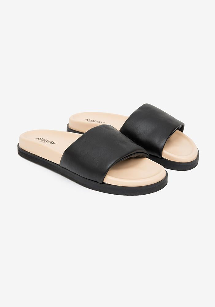 One strap leather sandal black - AVAVAV-Firenze